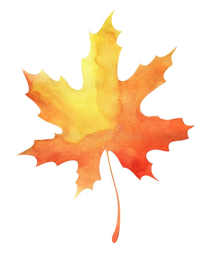 Autumn maple leaf. Orange-yellow gradient. Abstract watercolor fill. Hand drawn illustration. Isolated on a white stock illustration