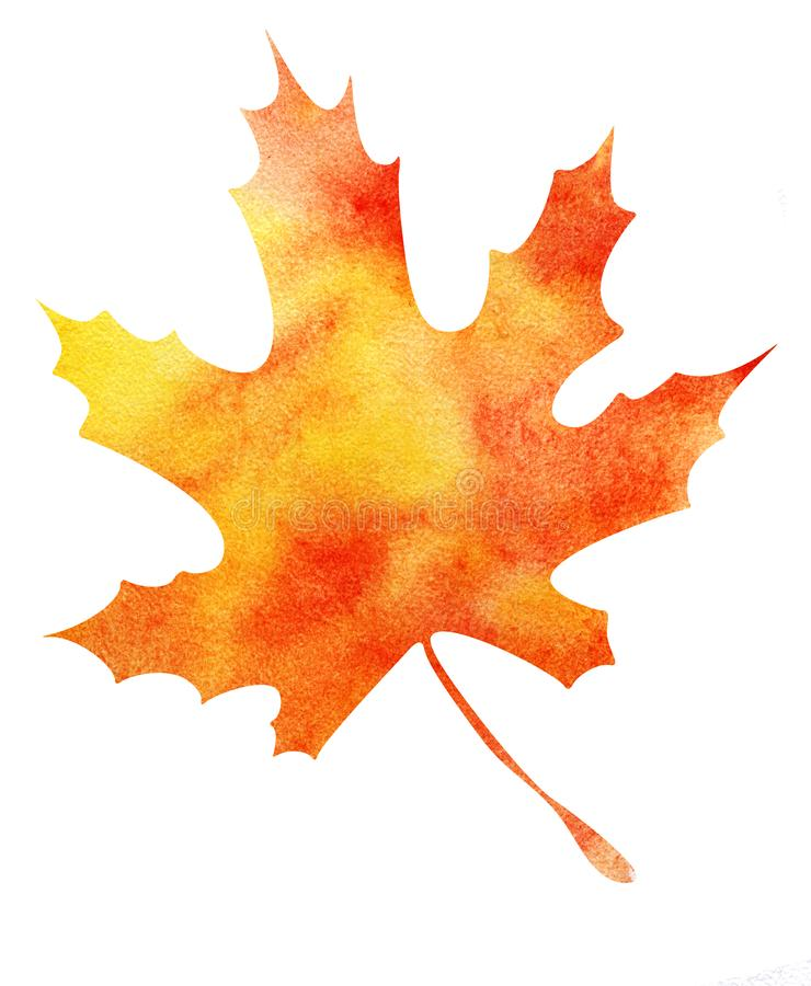 Autumn maple leaf. Orange-yellow gradient. Abstract watercolor fill. Hand drawn illustration. Isolated on a white. Background vector illustration