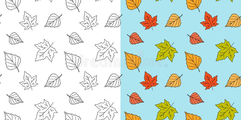Autumn maple leaf pattern. Fall leaves seamless pattern. Seasonal template with leaf texture. Vector royalty free illustration