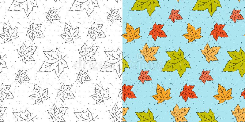Autumn maple leaf pattern. Fall leaves seamless pattern. Seasonal template with leaf texture. Vector stock illustration