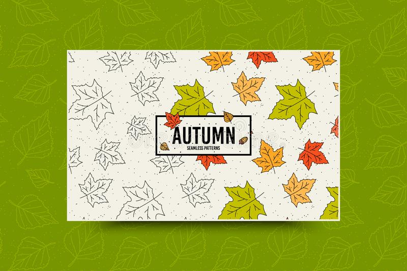 Autumn maple leaf pattern. Fall leaves seamless pattern. Seasonal web banner template with leaf texture. Vector vector illustration