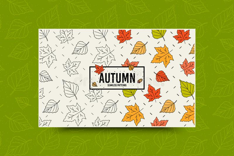 Autumn maple leaf pattern. Fall leaves seamless pattern. Seasonal web banner template with leaf texture. Vector royalty free illustration