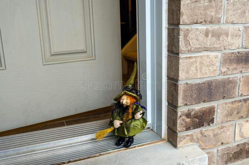 Witch On Halloween Feast On The Doorstep Of The House ...