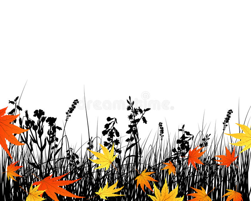 Download Autumn meadow silhouettes stock vector. Image of border - 11191321