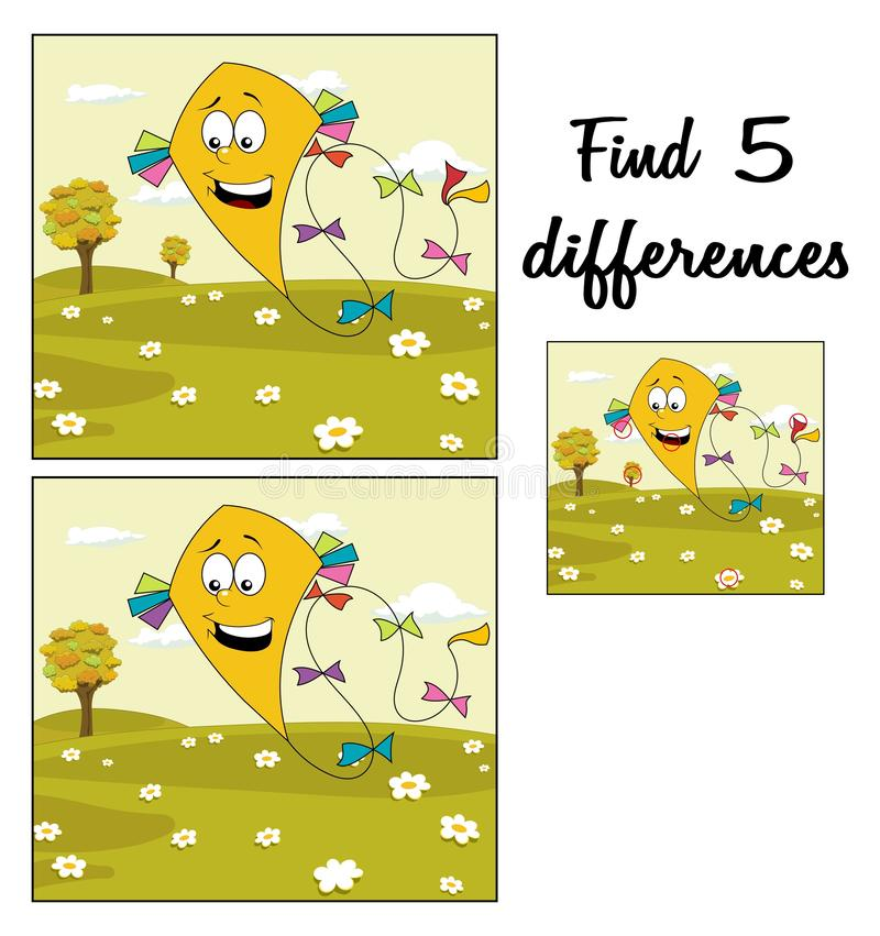 Free Autumn Meadow With Yellow Kite Floating Over Cloudy Sky. Find 5 Differences. Educational Game Royalty Free Stock Image - 130194606