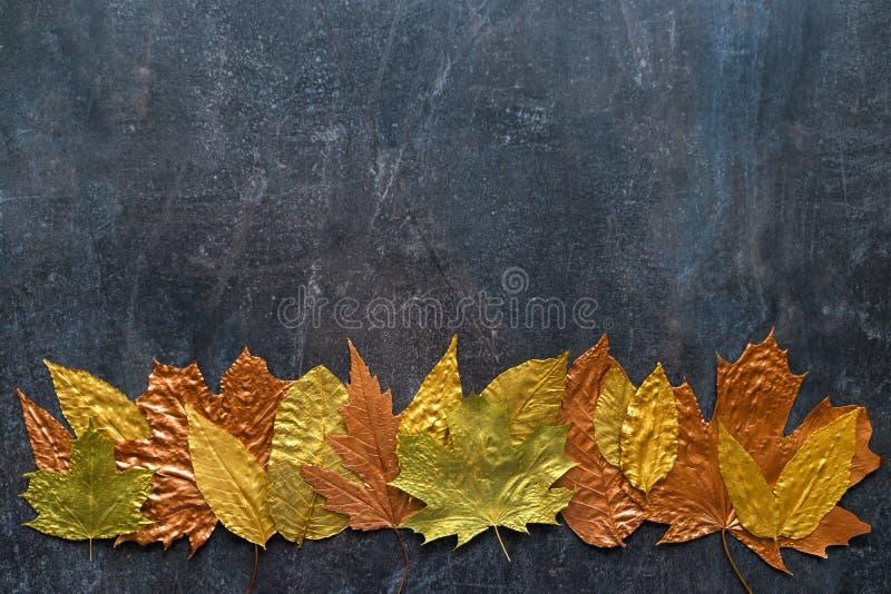 Autumn metallic gold copper leaf frame. Different fall metallic stock photos