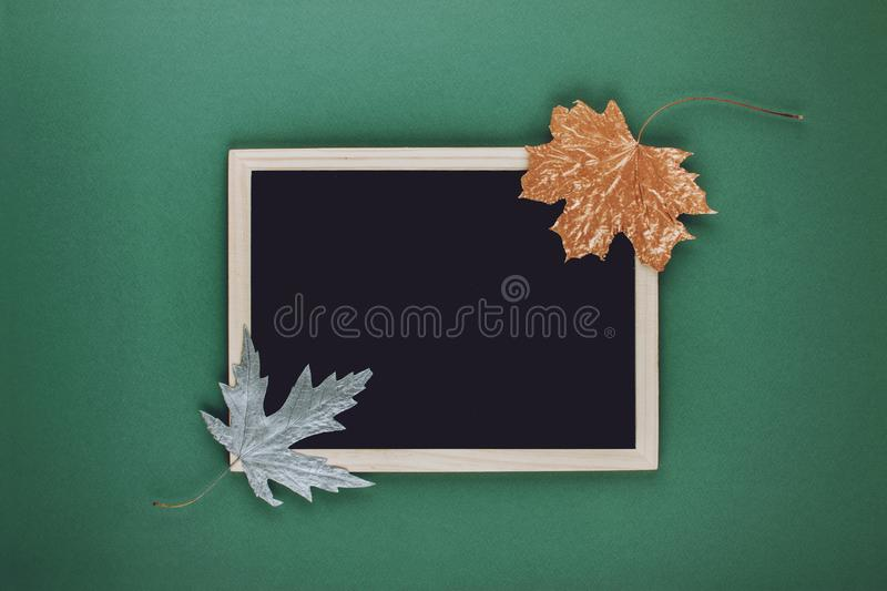 Autumn minimal flat lat, mockup, composition. Black blank frame chalk board and golden silver metallic dry maple leaves on green royalty free stock photography