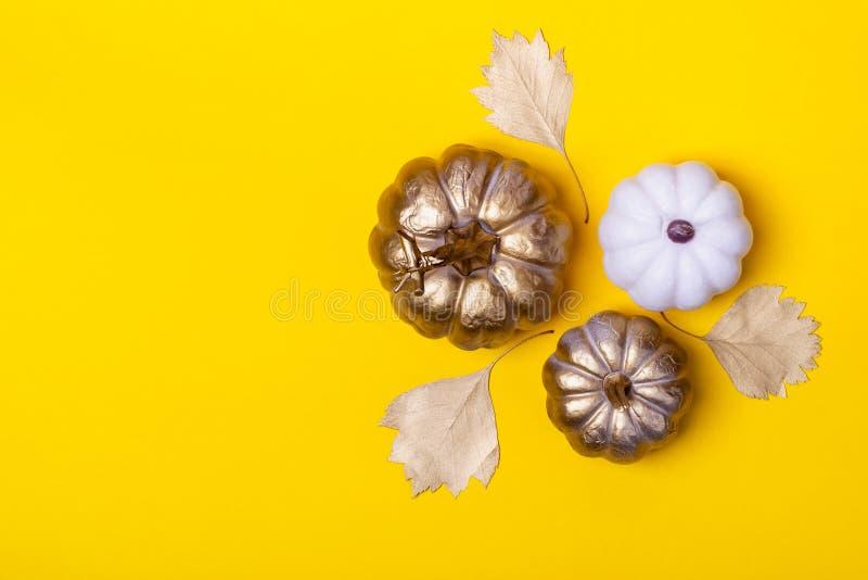 Autumn Minimalistic Background com abóboras decorativas e as folhas douradas fotografia de stock
