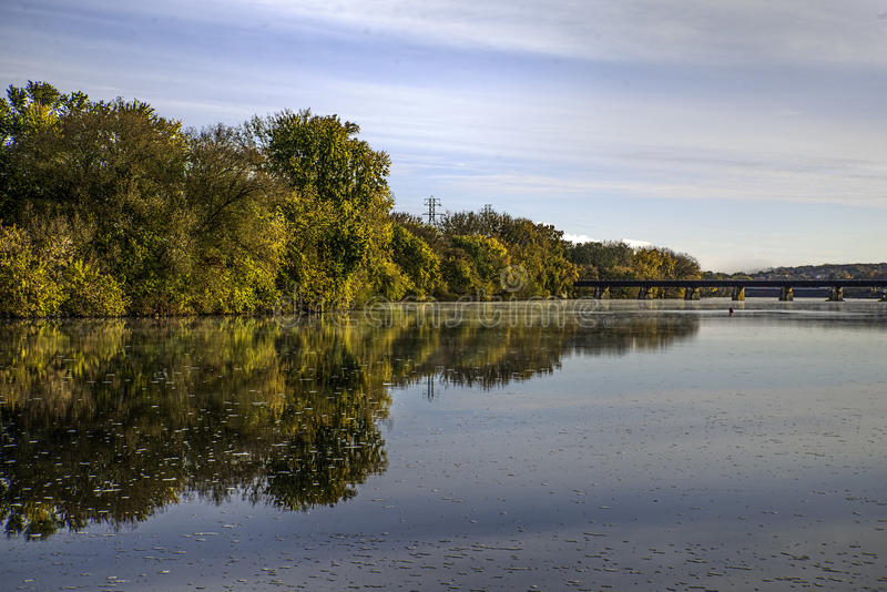 Autumn on the Mohawk. River at Schenectady's Stockade royalty free stock photo