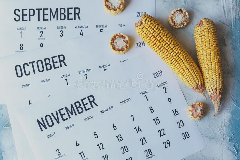 Autumn Months, Fall season concept. Harvest time. Three monthly calendars of September, October and November. Top view to calendars and raw corns stock photos
