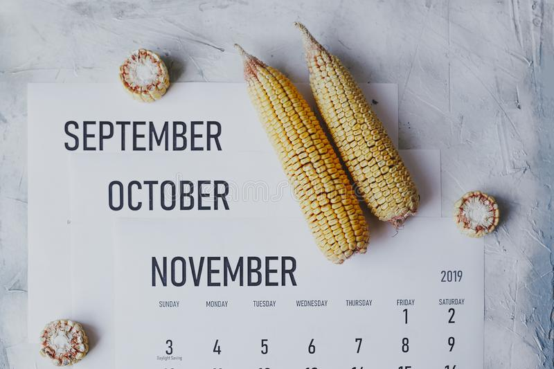 Autumn Months, Fall season concept. Harvest time. Three monthly calendars of September, October and November. Top view to calendars and raw corns stock images