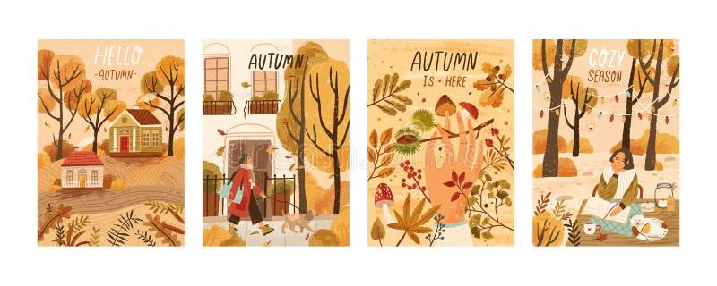 Autumn mood hand drawn poster templates set. Fall season nature flat vector illustrations. People enjoying cozy pastime stock illustration