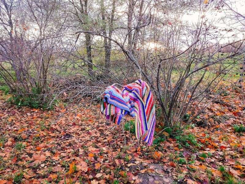 Autumn mood in a park with fall leaves. Crocheted bright striped plaid hanging on the bush branches. Autumn mood in a park with fall leaves. Bright striped plaid stock image