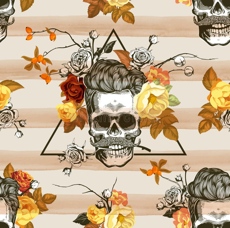 Autumn mood. Seamless pattern with the skulls, flowers and leaves in the background. Skull silhouette in engraving royalty free illustration