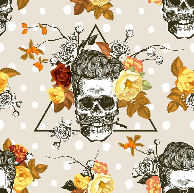 Autumn mood. Seamless pattern with the skulls, flowers and leaves in the background. Skull silhouette in engraving vector illustration