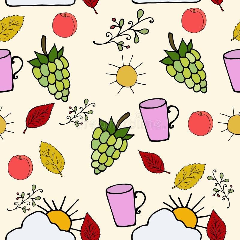 Autumn mood seamless pattern. Vector illustration. Hand drawn botanical picture royalty free illustration