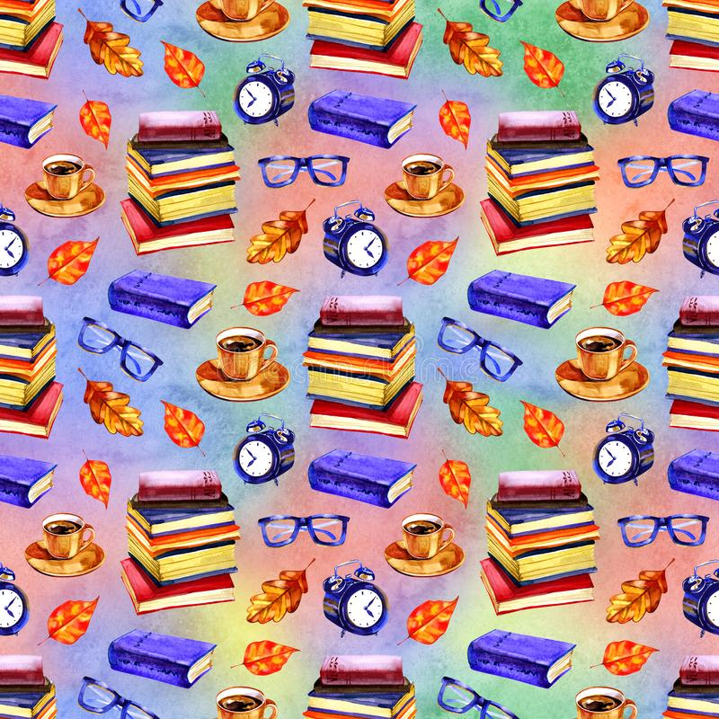 Autumn mood seamless watercolor pattern with books. Hand painted repetitive romantic illustration. Autumn mood seamless watercolor pattern with books. Hand royalty free stock photo