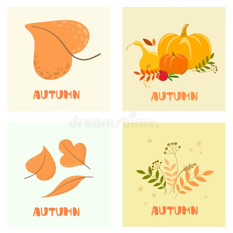 Autumn mood. Set of four color vector illustrations. Flat design. Greeting Cards. Vector isolate on white background. stock illustration