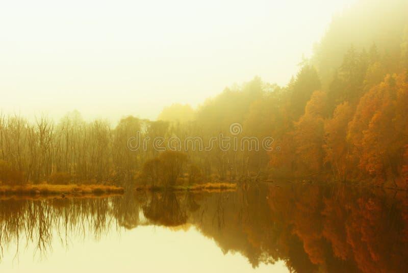 Autumn mood. Sunny autumn landscape in the mist stock photo
