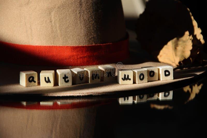 `Autumn mood ` text phrase on female autumn hat royalty free stock photography