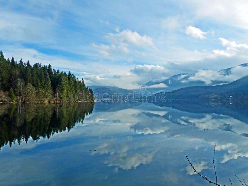 Autumn morning at Bohinj Lake royalty free stock image