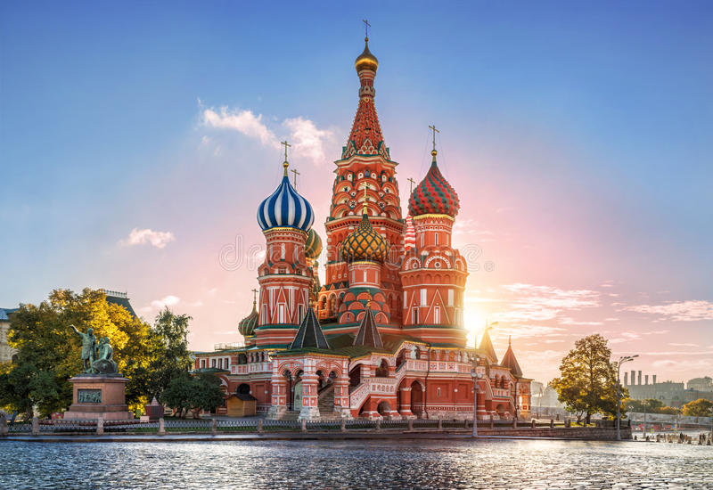 Autumn morning at the Cathe. Sunny autumn morning at St. Basil's Cathedral on Red Square royalty free stock images