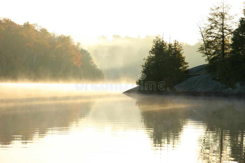 Autumn Morning on a Northern Lake stock images