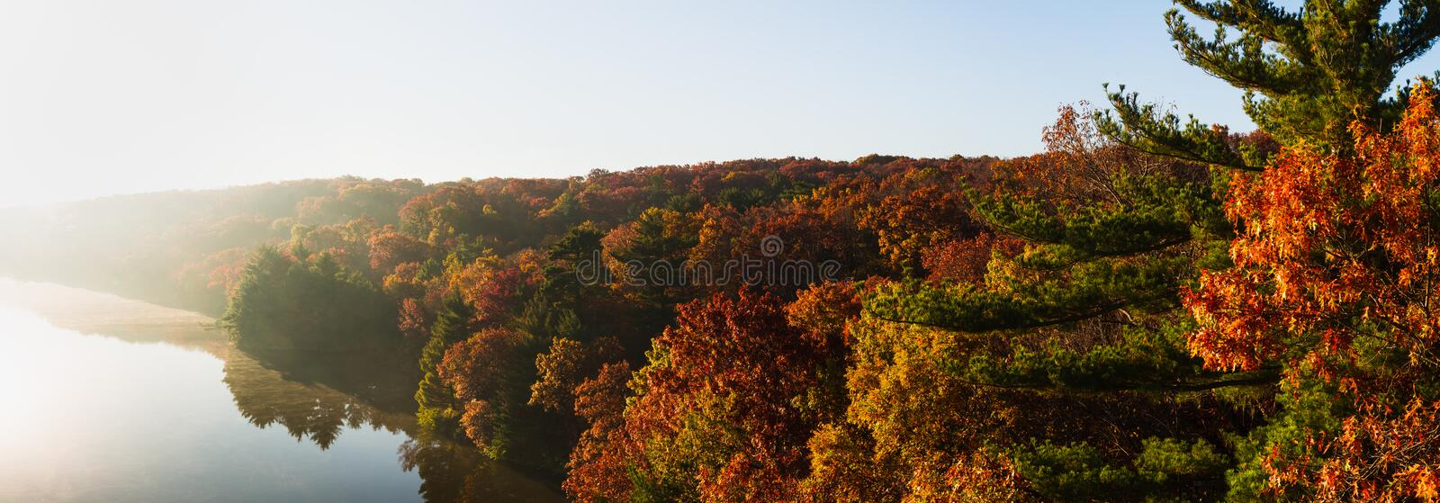 Autumn morning at Starved Rock. stock photo