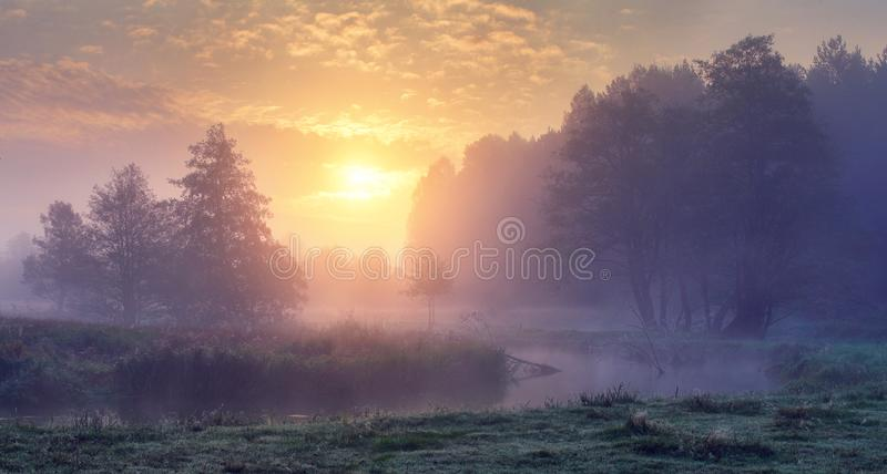Autumn morning sunrise. Foggy landscape of dawn on river. Beautiful fall scene of autumn nature royalty free stock image
