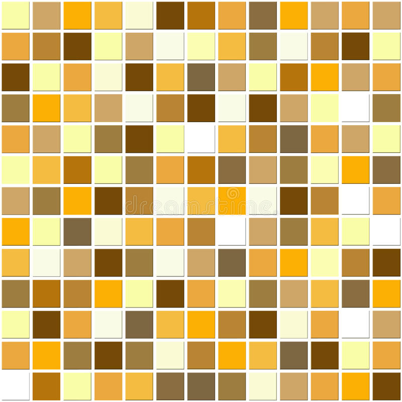 Autumn mosaic tiles. Mosaic ceramic tiles in the warm autumn colors of gold, yellow, orange and brown stock illustration