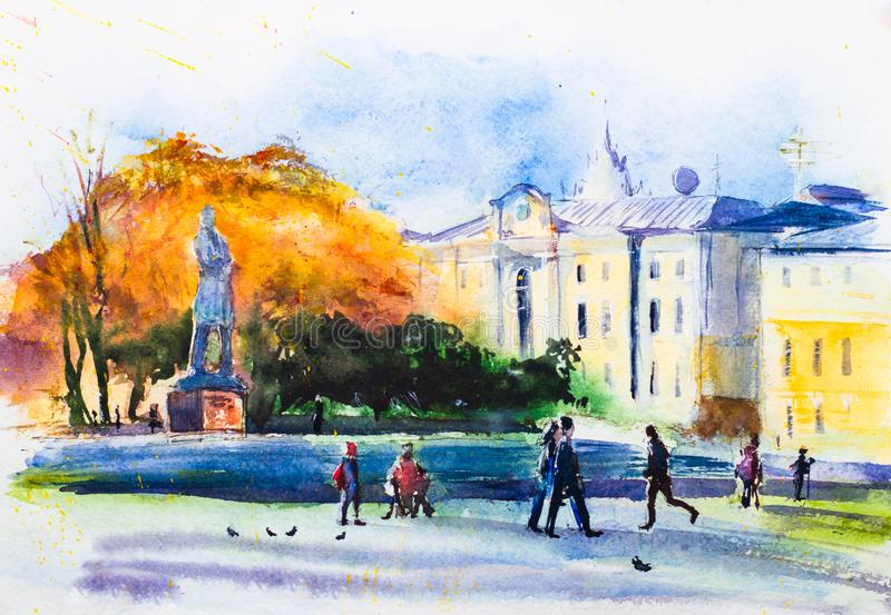 Autumn Moscow, Prechistensky Gates square, urban landscape. Bright autumn foliage, city sketch. Watercolor sketch. Autumn Moscow, Prechistensky Gates square stock photo
