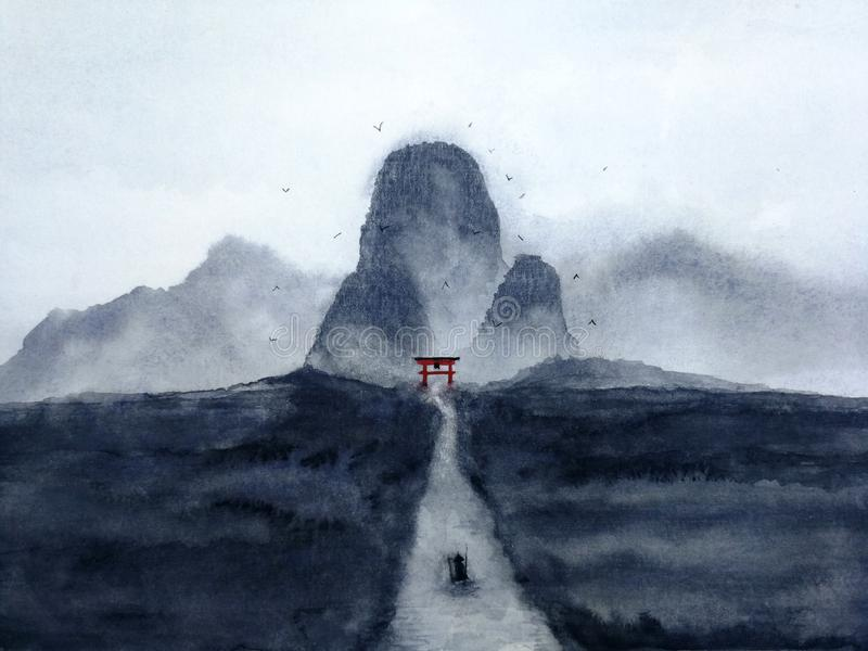 autumn mostu park mała akwarela krajobrazu mężczyzny żeglowania łódź na rzece przez lasu w japońskiej bramy tajemniczą dolinę tra royalty ilustracja