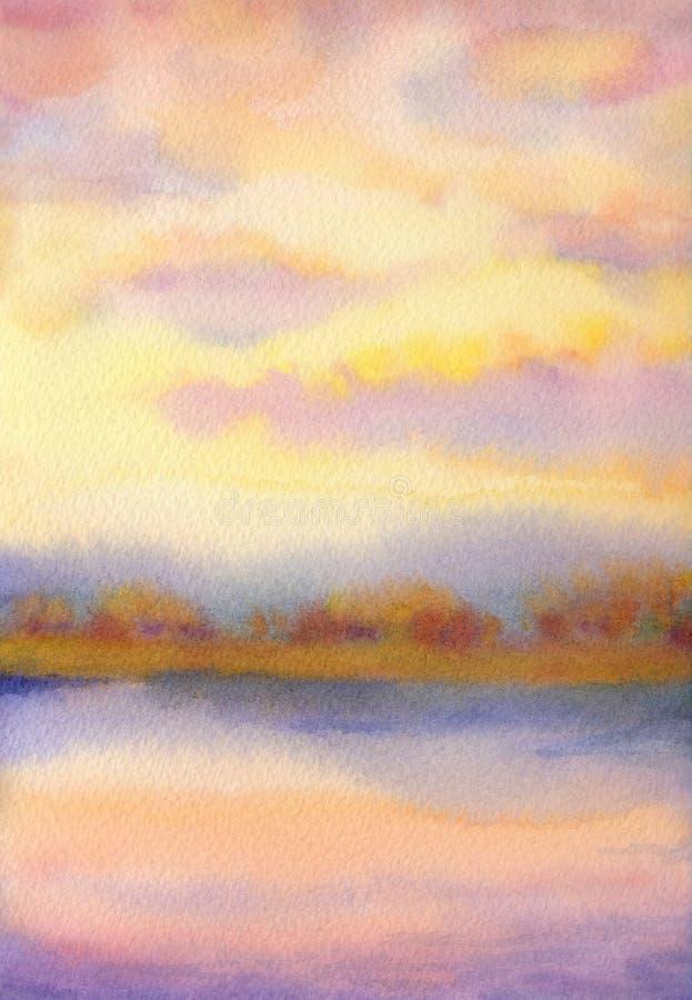 autumn mostu park mała akwarela krajobrazu zachód słońca nad jezioro royalty ilustracja