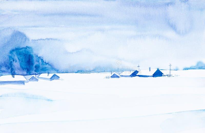 autumn mostu park ma?a akwarela krajobrazu Zima w wiosce wśród drzew zdjęcie royalty free