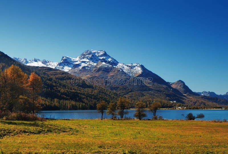 Autumn mountain lake stock photo