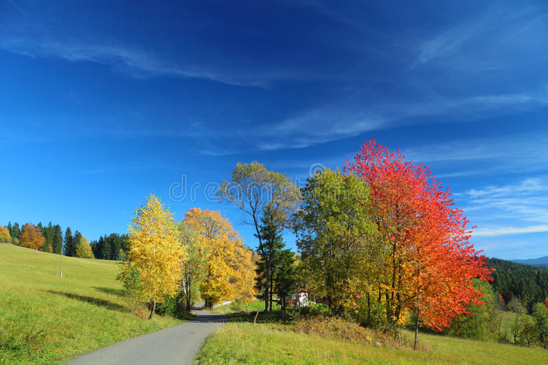 Autumn mountain landscape with blue sky stock photography
