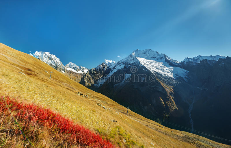 Autumn mountain landscape in the Caucasus mountains,. Dombay royalty free stock image