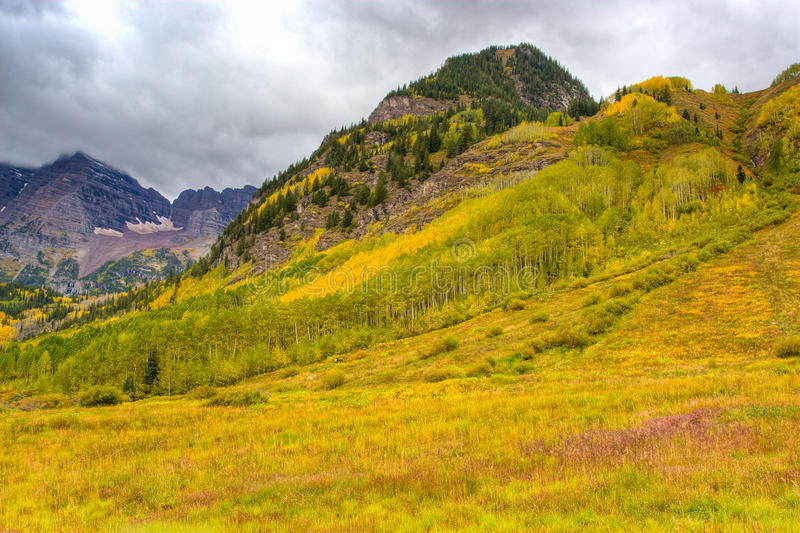 Autumn mountain landscape on a cloudy day. royalty free stock images