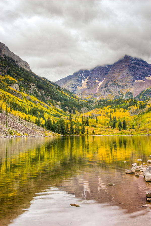 Autumn mountain landscape on a cloudy day. stock photography