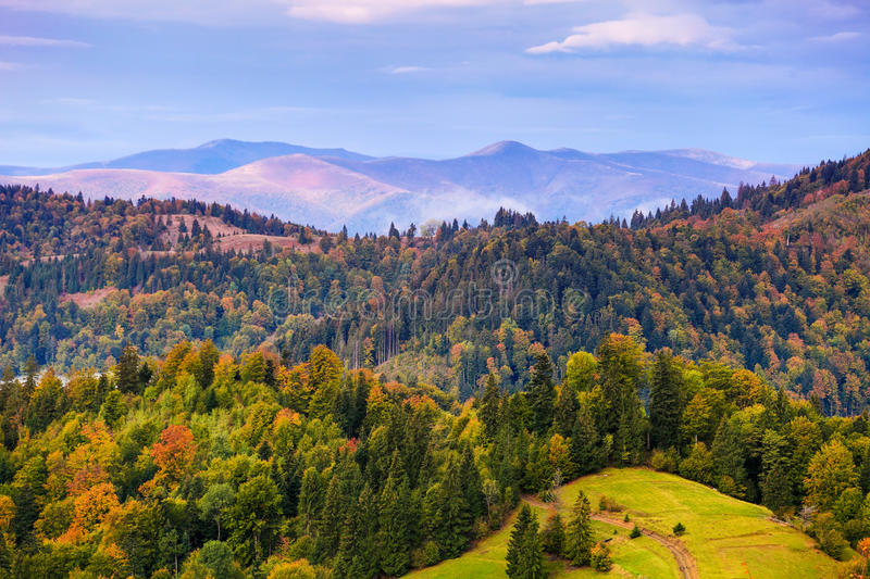 Autumn mountain landscape with colorful trees. In forest. Sky with clouds over hazy hills royalty free stock photography