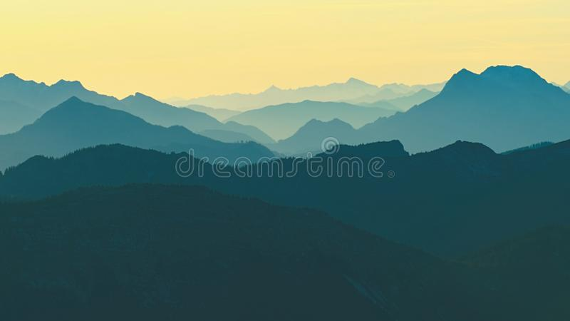 Autumn mountain landscape, foggy morning in Alps stock photo