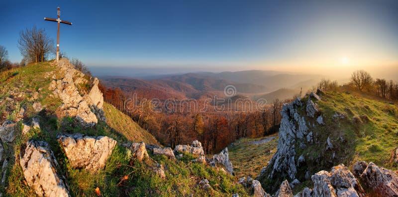 Autumn mountain panorama in Small Karpaty royalty free stock photo