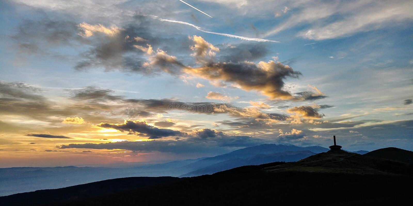 Autumn mountain sunset with beautiful sky royalty free stock photography