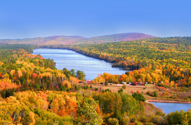 Autumn In Mountains. Autumn landscape Colorful trees in mountains of Michigan royalty free stock image