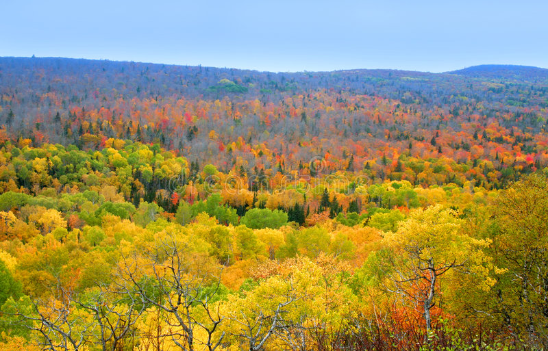 Autumn In Mountains. Landscape of mountains in Michigan during autumn time royalty free stock image