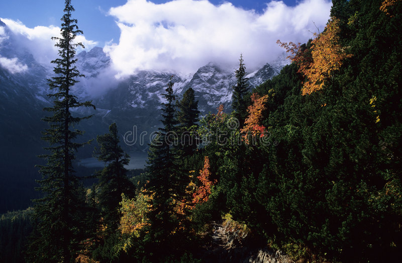 Autumn mountains. High Tatra mountains in autumn, Fishlake, Western Carpathians, Poland royalty free stock photo