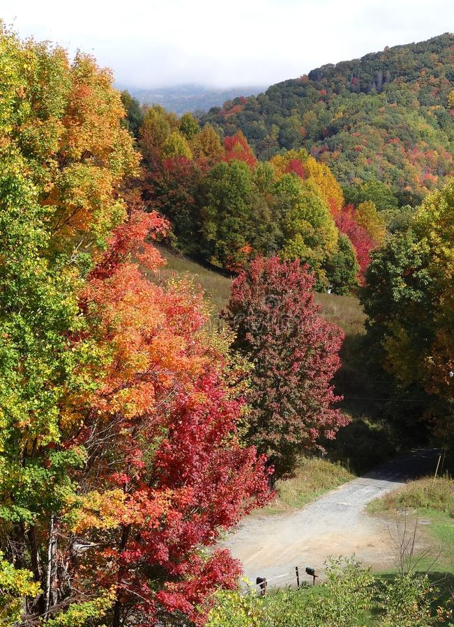 Autumn in the Mountains-Where the Road Ends royalty free stock photography