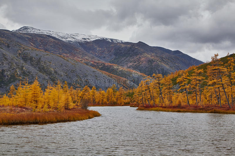 Download Autumn. A Mouth Of The Stream Running Into Lake Of Jack London. Mountains In Snow Stock Image - Image of snow, hills: 67765723