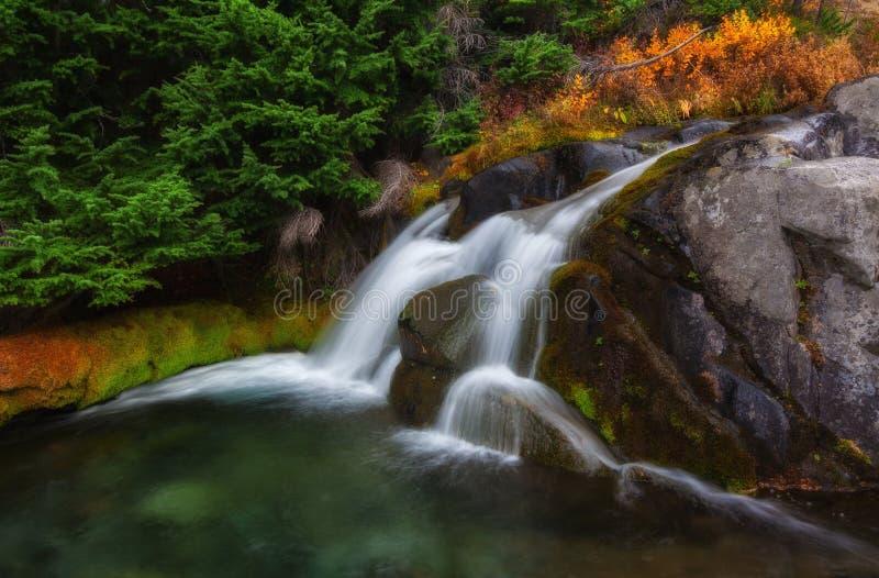 Autumn in Mt. Rainier National Park, Washington State. A waterfall in Autumn at Mt. Rainier National Park,Washington State royalty free stock images