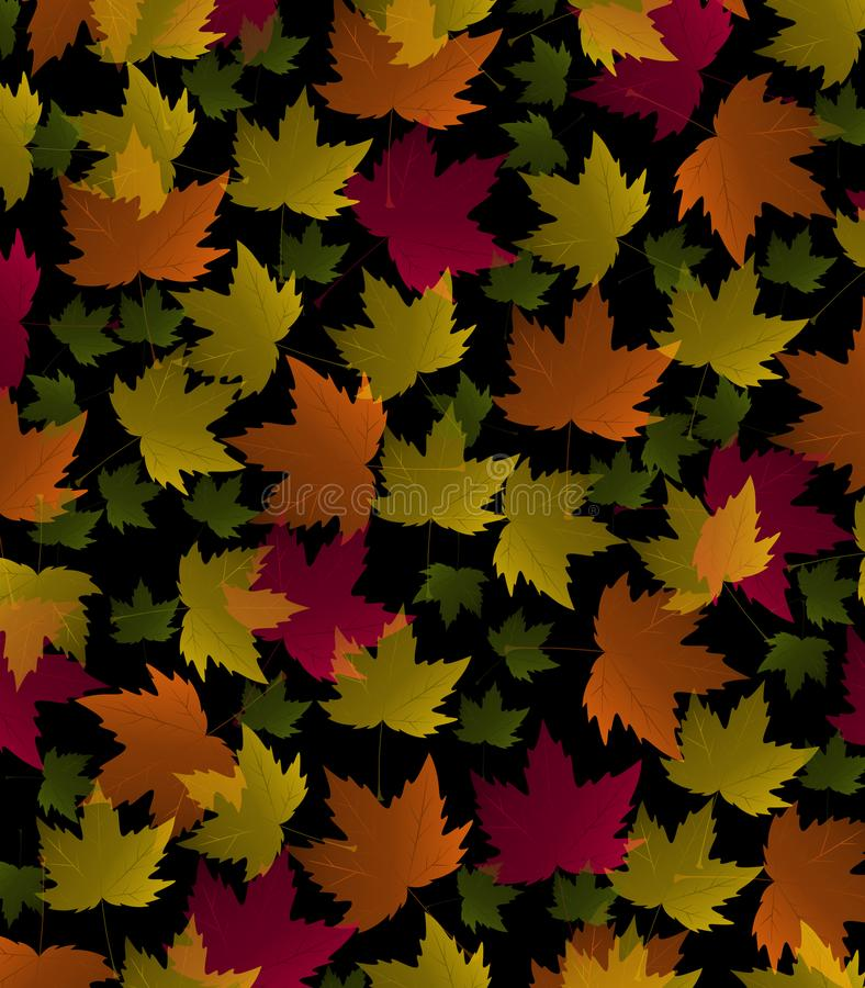 Autumn Multicolored Maple Leaves auf schwarzem Hintergrund stockfotografie